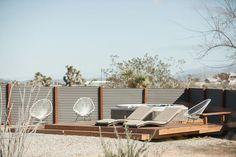 A Serenity Escape in Joshua Tree Modern Home in Yucca Valley,… on Dwell Desert Backyard, Modern Backyard, Modern Deck, Joshua Tree Airbnb, Palm Springs Houses, Home Landscaping, High Desert Landscaping, Desert Homes, Exterior Design