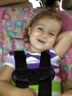 Our little smurf!! Someone had some blue taffy!! That smile is so precious! #saveraelyn #childhoodcancer #rhabdomyosarcoma