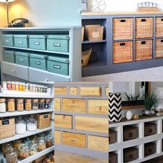 Open shelves are great for storage, but they can easily look untidy and cluttered. Here are some options for storage on shelves that increase storage capacity & look neat and tidy. Storage Shelves, Open Shelving, Shelf, Neat And Tidy, Clutter, Bathroom Medicine Cabinet, Storage Racks, Shelving, Shelving Units