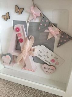 7a5ce2e32b383 Details about Personalised Letter in deep Box Frame for new baby Or  Christening