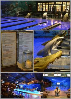 Only at Uncle Buck's Fishbowl Destin, FL you can bowl in the ocean! This unique dining concept has 16 full lanes of bowling that offer an extraordinary underwater experience that is geared for family fun!  Hand painted murals and fish hanging from the ceiling make you feel as if you are having fun while in the ocean. #emeraldcoasting