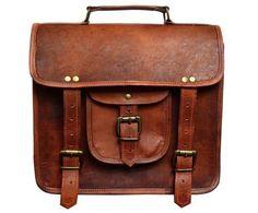 82398ecaa8b2 Shakun Leather Men s Genuine Retro Vintage Brown Leather Messenger Shoulder  Laptop bag Briefcase NEW