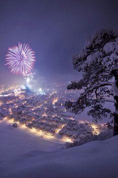 Fireworks Over Snowy Town I Love Snow, I Love Winter, Winter Is Coming, Winter Snow, Winter Time, Winter Christmas, Christmas Scenes, Christmas Music, Christmas Ideas