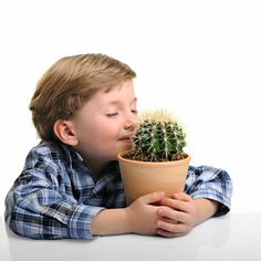 A child enjoying that sweet, sweet cactus smell: | 50 Completely Unexplainable Stock Photos No One Will Ever Use