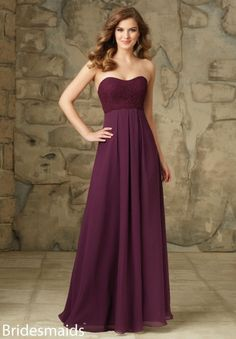 Hot Sale Eggplant Pleated Lace Bodice Long Chiffon Bridesmaid Dress 2016