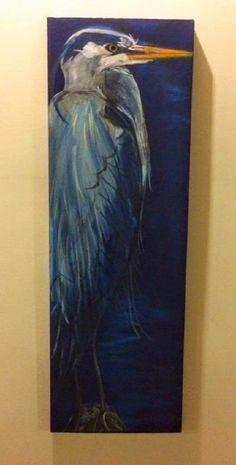 Bird Painting Acrylic, Long Painting, Watercolor Art, Painted Pony, Nautical Art, Blue Heron, Watercolour Tutorials, Colorful Birds, Wildlife Art