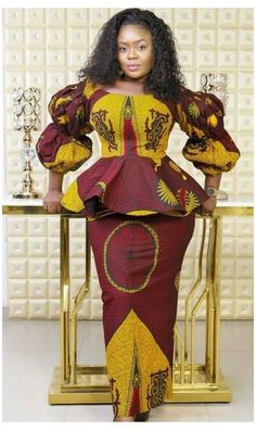 ankara peplum blouse and skirt styles African Dresses For Kids, Latest African Fashion Dresses, African Dresses For Women, African Print Fashion, African Attire, Latest Fashion, Ankara Rock, African Print Dress Designs, African Traditional Dresses