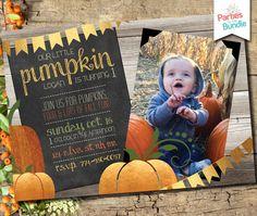 Fall First Birthday, Pumpkin First Birthday, Boy Birthday, Little Pumpkin Party, Cute Pumpkin, First Birthday Invitations, Party Invitations, Digital Invitations, Card Sizes