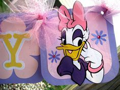 Happy Birthday Banner - Daisy Duck - Disney - Purple Pink Yellow.