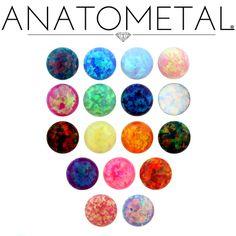 Anatometal Opal colours! Teal, Dark Blue, Light Blue, Light Pink, Dark Pink, Lime Green, Blue Green, White, Red, Yellow, Orange, Black, Purple, Hot Pink, Bold Red, Bubblegum Pink, Light Purple