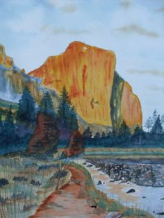 Reflecting El Capitan is a watercolor painting from an idea I had from an ad promoting Ken Burns' The National Parks on PBS. 150. Original / Prints Available