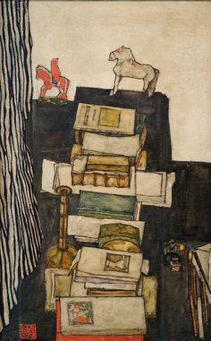 Still Life With Books - Egon Schiele, 1914 The painting hangs in the Leopold Museum in Vienna where there is a permanent collection of Schiele. Here are 8 Things About Schiele from ArtNet News. Gustav Klimt, Art And Illustration, Art D'ours, Inspiration Art, Bear Art, Art For Art Sake, Art Plastique, Oeuvre D'art, Les Oeuvres