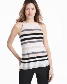 Sleeveless Stripe Woven Hem Sweater f9699d727