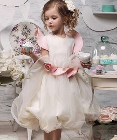 Loving this Ivory & Pink Angel-Sleeve Bubble Dress - Toddler & Girls on Toddler Girl Dresses, Flower Girl Dresses, Toddler Girls, Baby Girl Princess, Angel Sleeve, Princess Outfits, Frocks, Girly, Ivory