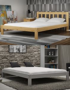 Wooden Pine Wood Bed Frame With Slats 3ft Single 90x190 Cm Furniture Drawer In 2018 Room Styles Pinterest Beds And