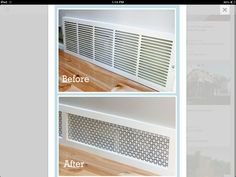 Check out another DIY return air grille solution here. Do you have a baseboard return air grille that looks like this? Fireplace Vent, Ikea Fireplace, Air Return Vent Cover, Wall Vent Covers, Cold Air Return, Diy Ac, Ac Cover, Ac Vent, Air Conditioner Cover
