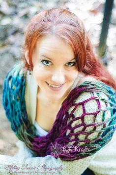 Lightweight Mulberry Chunky Arm Knit Infinity Scarf by KimLKrafts
