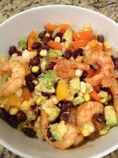 My Favorite Meal of the Week - Black Bean Salad with corn, shrimp and avocado #healthy #easy #fast #dinner