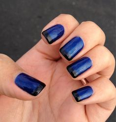 Dark blue nails with black French tips. Description from yelp.com. I searched for this on bing.com/images