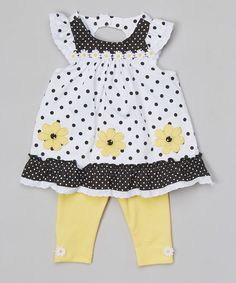Look at this #zulilyfind! Black Polka Dot Tunic & Yellow Leggings - Infant, Toddler & Girls by Nannette Girl #zulilyfinds