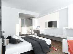 """Hattrick"" Hotel & Spa. Sant Feliu de Llobregat. Barcelona (Spain) QIDStudio. Artur Fuster Architects Design Projects, Architecture Design, Flat Screen, Bedroom, Room, Architecture Layout, Flat Screen Display, Bed Room, Architecture Illustrations"