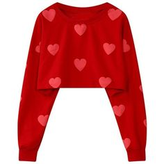 Casual Heart Print O-neck Long Sleeve  Crop Sweatshirts (76 RON) ❤ liked on Polyvore featuring tops, hoodies, sweatshirts, print crop tops, crop top, cropped sweatshirt, long sleeve crop top and short crop tops
