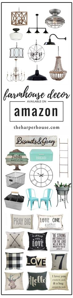Affordable farmhouse decor on Amazon! Get the Fixer Upper style while shopping in your jammies at home! Joanna Gaines uses some of these to create her signature farmhouse style too. All links on the blog! | http://www.theharperhouse.com