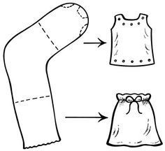 Doll Clothes out of Single Socks! Just add around-the-house notions and scrap fabric/yarn...endless possibilities for my busy 4-year old!
