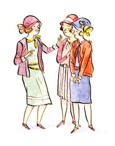 Ink and watercolor illustration of chatty stylish friends during the 1920s annees folles, Paris.