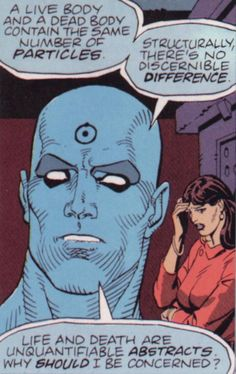 Dr. Manhattan and the Silk Spectre from Watchmen.
