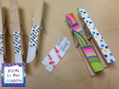 Cut your Command Strips in HALF...DUH!  Why didn't I think of that.  You can also attach them to clothespins...another DUH!!!