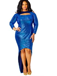 "Monif C - ""Dana"" Sequin Cold Shoulder Dress, Blue, $288.  Wish I had somewhere to wear it!"