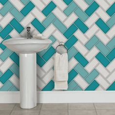 A stunning geometric tile design wallpaper in teal with a gel like glitter from Holden Décor's Chevron Tile Wallpaper Collection. Glitter Grout, Glitter Vans, Glitter Bomb, Glitter Eyeshadow, Glitter Heels, Chevron Tile, Geometric Tiles, Geometric Wallpaper, Tile Wallpaper