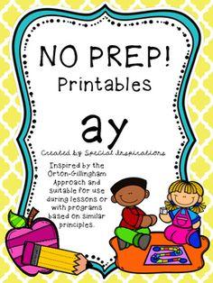 No Prep Worksheets for ay