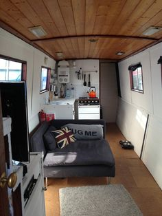 This Narrowboat renovation project in London is a guest post by Sarah Meyer Hi Alex and fellow Tiny House Newsletter readers, I hope you are doing well! I love Tiny House Talk and hope our journey . Small Space Living, Tiny Living, Small Spaces, Living Spaces, Living Room, Canal Boat Interior, Barge Interior, Narrowboat Interiors, Tiny House Talk