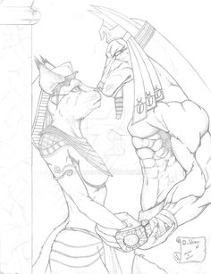Anubis and Bastest. Nothing like a couple of Egyptian gods getting along. Anubis and Bastet sketch Bastet Tattoo, Anubis Tattoo, Egyptian Anubis, Egyptian Art, Anubis Drawing, Bastet Goddess, Egyptian Drawings, Rose Tattoos For Men, Witch Tattoo