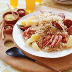 Families in Alsace generally eat choucroute garnie during the wintertime, because it's such a hearty, filling dish.; Jacques Pépin has adapted the re...