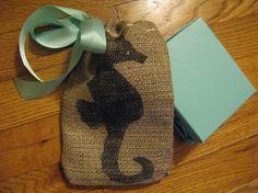 Seahorse Burlap Favor or Gift Bag with Blue by PrinceSnowFarm, $6.00