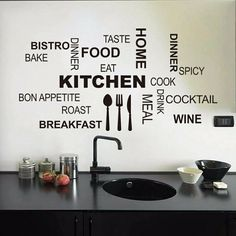 Kitchen Wall Quotes, Vinyl Wall Stickers/We have all seen the popularity of Wall Words in Restaurants, Bars, Bistros, Eateries and Coffee Shops! Get that Designer Look. Add to walls, tile, ceramics, appliances and windows to add flair to your kitchen!