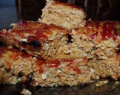 Turkey Meatloaf - I used 1 lbs of ground turkey and lbs of hot Italian sausage from the butcher instead of the lbs of ground turkey. I also reduced the amount of ketchup for the top of the meatloaf. Gf Recipes, Turkey Recipes, Cooking Recipes, Dinner Recipes, Healthy Meatloaf, Meatloaf Recipes, Turkey Meatloaf, Cooking Turkey, Cooking Light