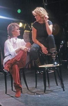 """Agnetha and Frida during the filming of """"The Day Before You Came"""" video."""