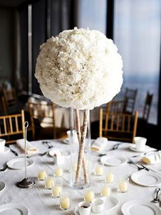A Minimalist Pomander Centerpiece - but how to keep this low (or hang from the ceiling?) This orb of white flowers supported by a hurricane vase and birch branches has a sleek, contemporary vibe. Reception Decorations, Wedding Centerpieces, Wedding Table, Our Wedding, Dream Wedding, Centrepieces, Reception Ideas, Summer Wedding, White Centerpiece