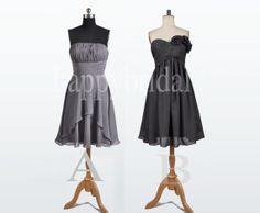 Short Gray Black Chiffon Bridesmaid Dresses Prom by Happybridal, $52.00