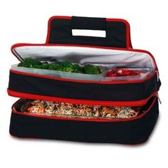 Picnic Plus PSM-721BR Entertainer Hot and Cold Food Carrier in Black/Red