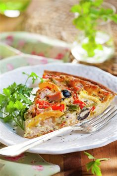 QUICHE DE PIMIENTOS Y JAMÓN DE PAVO. Quiche, Pasta, Vegetable Pizza, Vegetables, Breakfast, Food, Sauteed Vegetables, Stir Fry, Custard