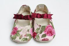6-9 months floral bow shoes by DottyRobin on Etsy