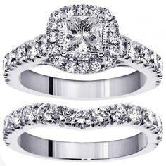 3.00 CT TW Halo Princess Cut Diamond Encrusted Engagement Bridal Set in 18k White Gold