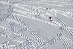 It Looks Like A Crazy Guy Just Walking Around In The Snow. Then You Zoom Out And.. Whoa