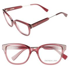 Women's Derek Lam 50Mm Optical Glasses (190 JOD) ❤ liked on Polyvore featuring accessories, eyewear, eyeglasses, dark pink, acetate glasses, derek lam, derek lam eyeglasses, derek lam glasses and lens glasses