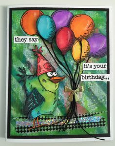 """Crazy Birds""... Using Tim Holtz stamps and dies I made this super fun card for my husbands birthday."